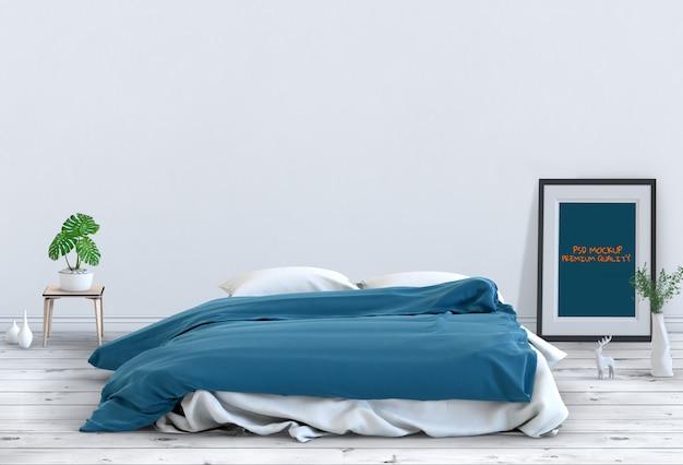 Mock-se sala de cama interior poster em branco. 3d render