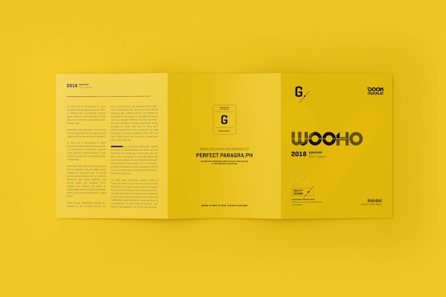 Mock-up 3xa4 trifold folheto