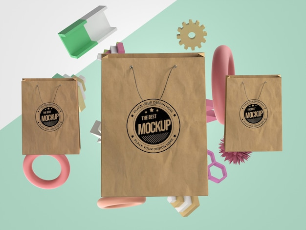 Mock-up abstrato com sacolas de compras