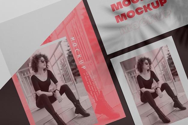 Mock up brochura conceito de sobreposição de sombra