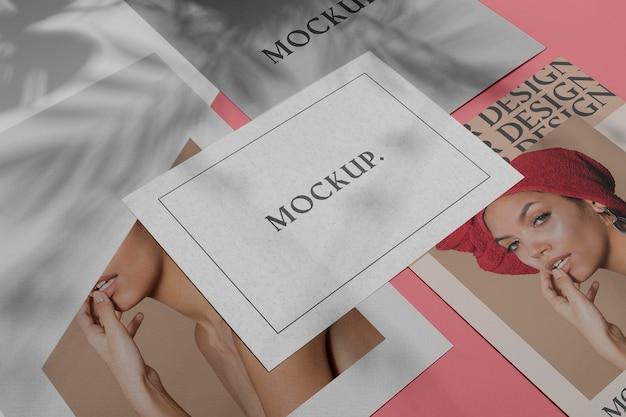 Mock up brochura sombra sobreposição plana lay