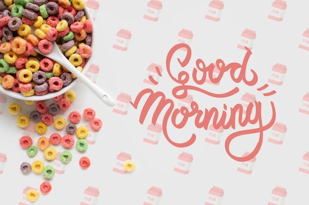 Mock-up café da manhã com cereais