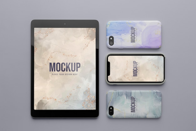 Mock-up capas para celular e variedade de tablets