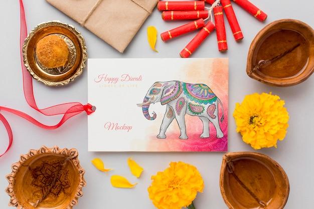 Mock-up cartão em aquarela feliz do festival de diwali com fita