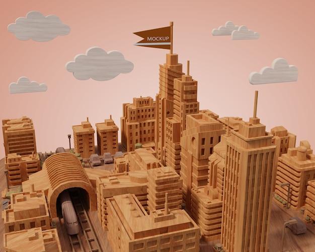 Mock-up cidades 3d edifícios em miniatura