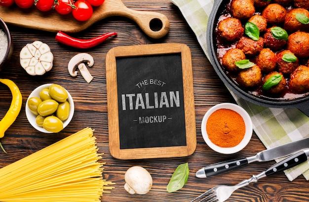 Mock-up de almôndegas de comida italiana