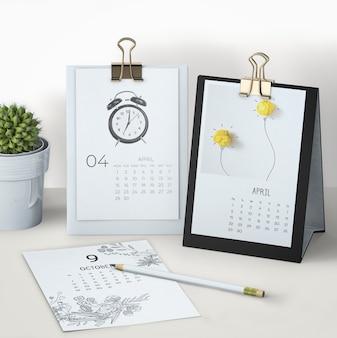 Mock up de calendário desenhado de mão