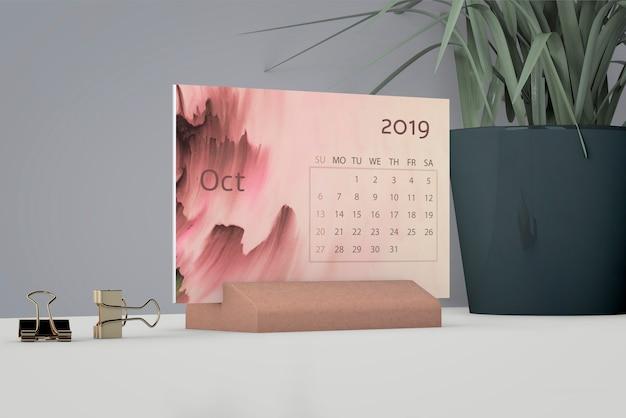 Mock up de calendário em aquarela
