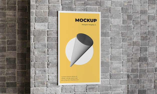Mock up de concreto cinza de pôster urbano