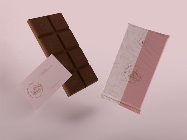 Mock-up de embrulho de plástico para tablet de chocolate