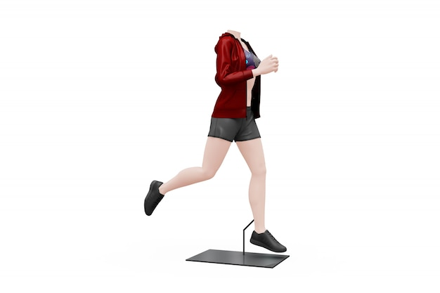 Mock-up de equipamento de desporto feminino isolado