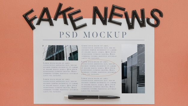 Mock-up de jornal com notícias falsas