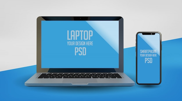 Mock up de laptop e smartphone premium psd