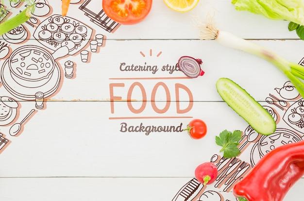Mock-up de legumes frescos e orgânicos