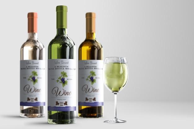 Mock-up de rótulo de garrafa de vinho realista