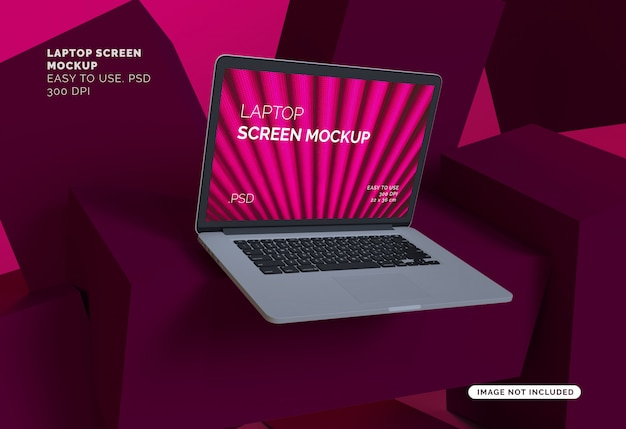Mock-up de tela do laptop com fundo abstrato