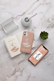Mock-up de tela do telefone e composição da capa do telefone
