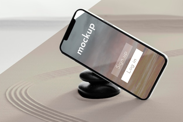 Mock-up de telefone em composição de areia