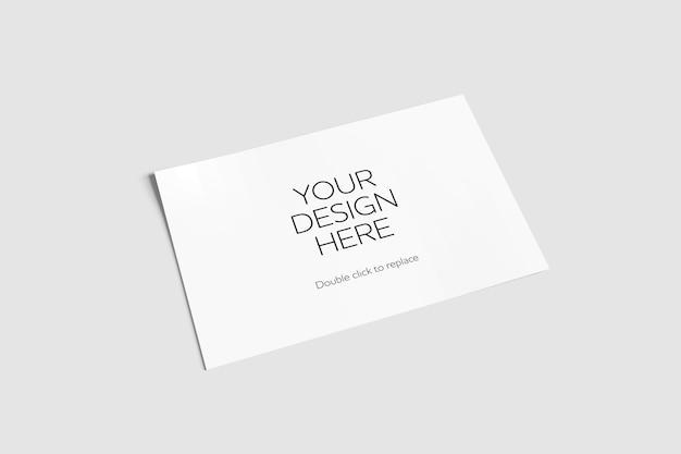 Mock up de um cartão-postal branco - renderização em 3d