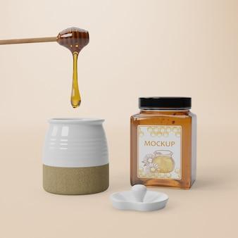 Mock-up delicioso produto de mel