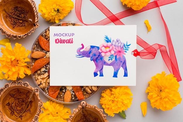 Mock-up diwali hindu festival arranjo floral
