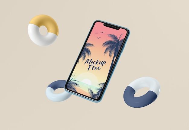 Mock-up gratuito com telefone e linhas de vida