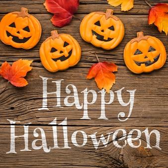 Mock-up guloseimas e folhas de halloween
