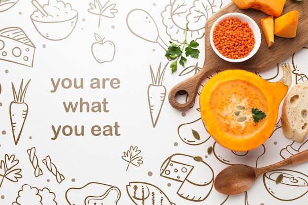 Mock-up mensagem positiva sobre comida