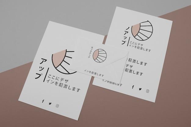 Mock-up para empresa de negócios japonesa vista de cima