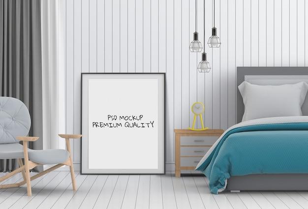 Mock up poster em branco interior quarto de cama