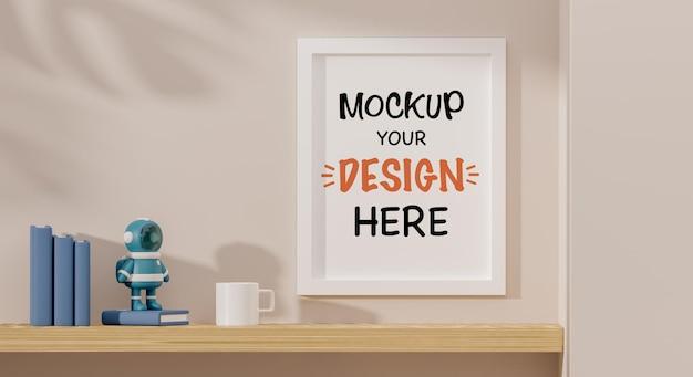 Mock up poster frame com astronauta andróide para um chá de bebê renderização 3d