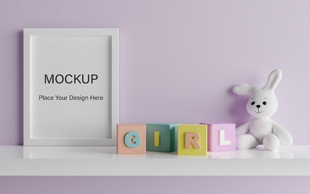 Mock up poster frame com cute coelho para um chá de bebê de menina renderização 3d