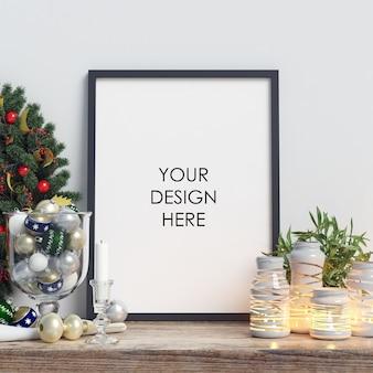 Mock up poster frame com decoração de natal