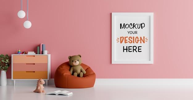 Mock up poster frame com fofo urso de pelúcia para um chá de bebê renderização 3d