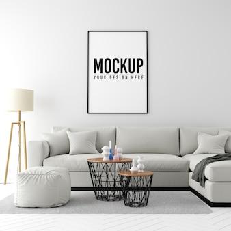 Mock up poster frame fundo interior com móveis e decoração