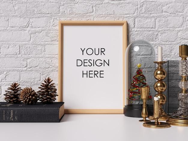 Mock up poster frame interior com decoração de natal