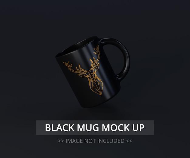 Mock-up preto da caneca acima - voando
