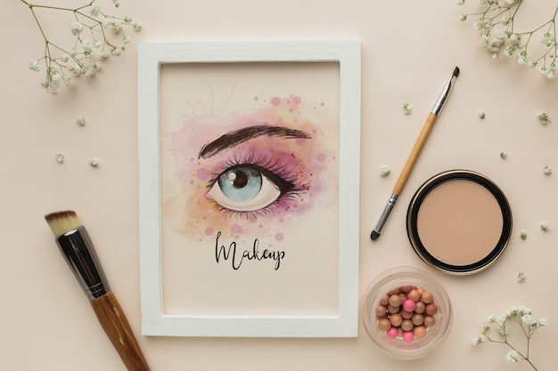 Mock-up tema de maquiagem glamourosa dos olhos