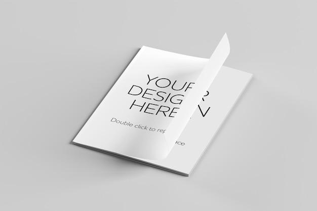 Mock up view de uma revista renderização em 3d