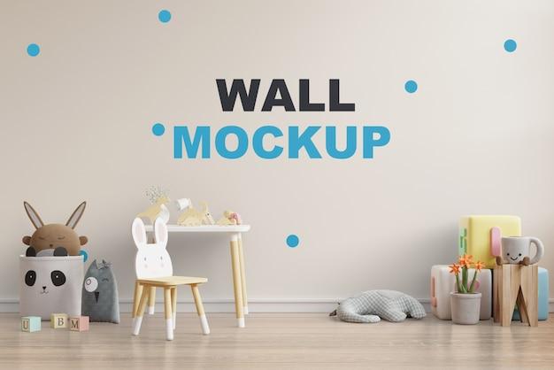 Mock up wall na sala das crianças renderização em 3d