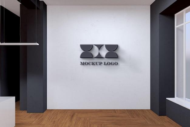 Mocku do logotipo da parede do escritório
