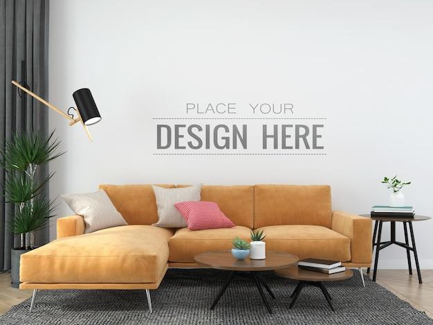 Mockup 3d psd de mobília interior de parede vazia