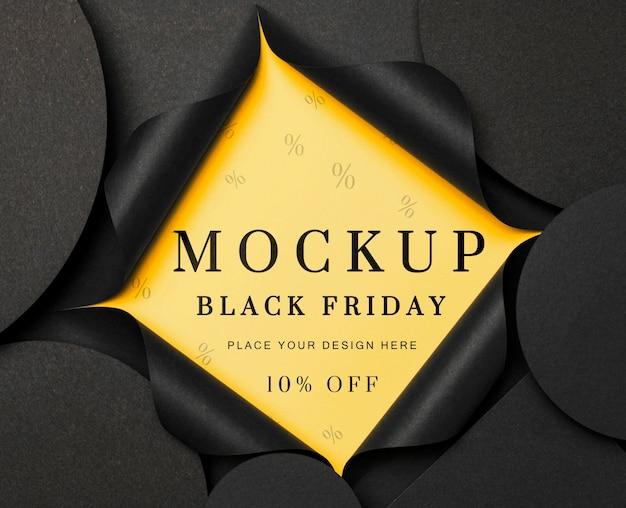Mockup amarelo rasgado plano preto sexta-feira
