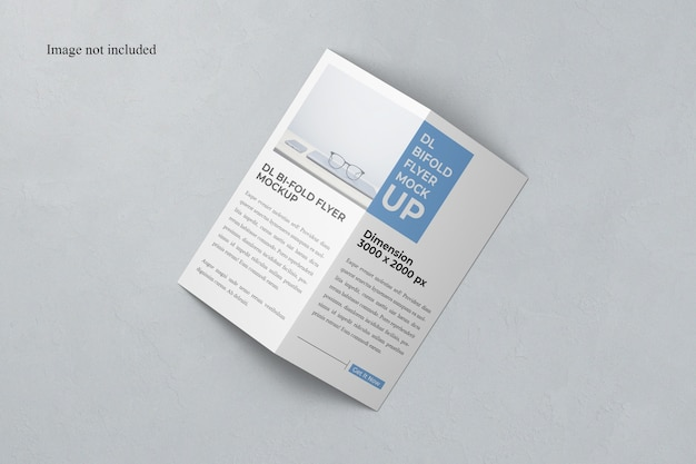 Mockup bi-fold dl flyer vista superior