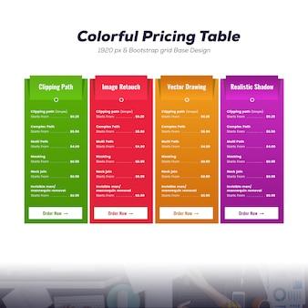 Mockup colorido da tabela de preços