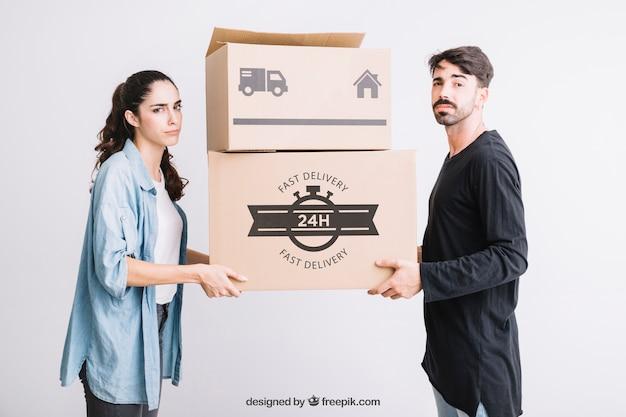 Mockup conceito em movimento com casal
