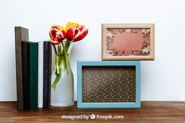 Mockup da primavera com dois quadros e vasos de flores