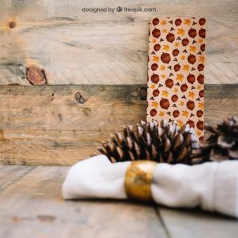 Mockup de ação de graças com banner e cone de pinho
