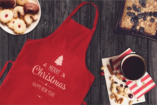 Mockup de avental com design de natal