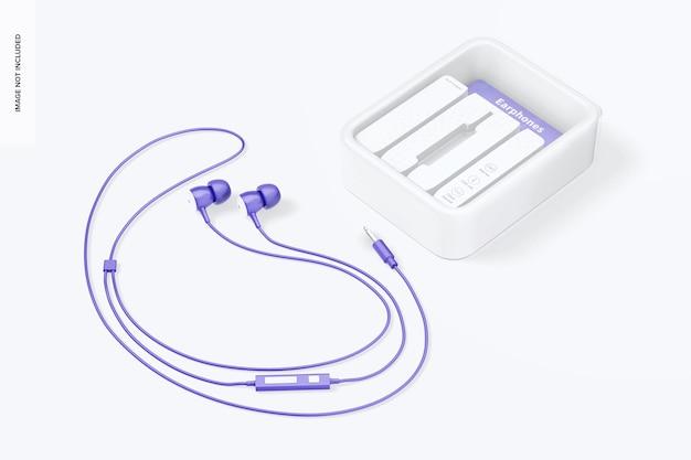 Mockup de bolha de fones de ouvido, perspectiva